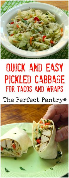 Quick and easy pickled cabbage, with jalapeño peppers and cilantro, is the…