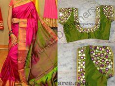 Saree and mirror work blouses Mirror Work Saree Blouse, Mirror Work Blouse Design, Cutwork Blouse Designs, Kids Blouse Designs, Blouse Patterns, Maggam Work Designs, Blouses, Sarees, Maggam Works