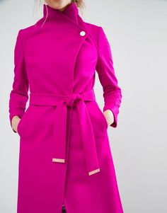 Image 3 ofTed Baker Aurore Long Wrap Collar Coat in Pink