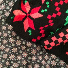 basic grey christmas fabric backing for a Fair Isle Quilt