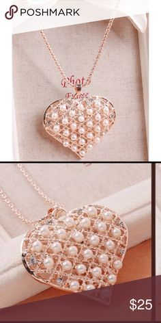 New Heart Necklace With Pearls & Rhinestones New heart pendant necklace filled with faux pearls & rhinestones. Absolutely stunning. 4 Bidden Boutique  Jewelry Necklaces
