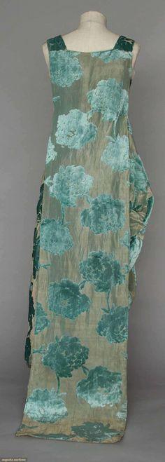VELVET & LAME EVENING GOWN, 1920s - Aqua velvet peony blossoms cut to gold lame, wide shoulder straps & back train