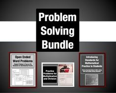 Save $3 by buying these three resources together in this problem solving bundle. You can buy them all separate, or save by purchasing all three at once: * Guide to Introducing Math Fact Practice Standards * Open Ended Problem Types (My bestseller!) * Practice Problems for Multiplication and Division: 9 Problem Types