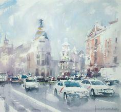Watercolour on paper. Watercolor Landscape, Watercolor Art, Urban Art, Rue, Madrid, Art Photography, Fine Art, Drawings, Artwork