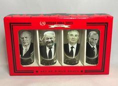 Soviet Russian Leader Vodka Shot Glasses Putin Gorbachev Yeltsin Khrushchev NOS