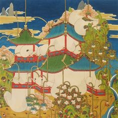 """Songnyeo Lyoo, """"Haus #02""""   Watercolor & Ink on Rice Paper   Source: http://www.agora-gallery.com/ExhibitionAnnouncement/Chelsea_8_22_2014.aspx Agora Gallery   Contemporary Fine Art   NYC, NY."""