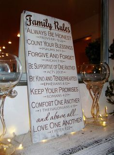 Scripture FAMILY RULES sign  #religious #bible #art