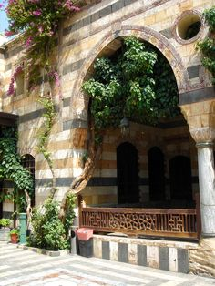 The mastabeh( raised seating area for honored guests to enjoy the courtyard).  Azem Palace, Damascus, Syria