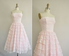 vintage 50s pink ruffle lace dress / 1950s strapless tier lace party prom dress / 50s baby pink dress on Etsy, $236.56 CAD