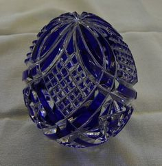 Extremely RARE Baccurat Czar Imperial Cut to Clear Cobalt Blue Egg Paperweight | eBay