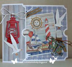 Nautical Cards, Nautical Theme, Fancy Fold Cards, Folded Cards, Marianne Design Cards, Beach Cards, Scrapbook Designs, Stencil Diy, Pop Up Cards