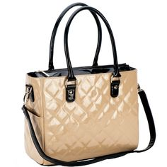 JP Lizzy Quilted Classic Tote Diaper Bag - Crema Patent | Maternity Clothes  available at Due Maternity And Baby www.duematernityandbaby.com