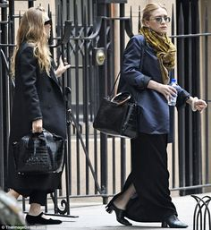 Fancy pair: Mary-Kate and Ashley Olsen were spotted toting similar black alligator-skin ba...