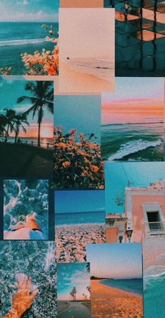 Coral and blue wallpaper collage peach