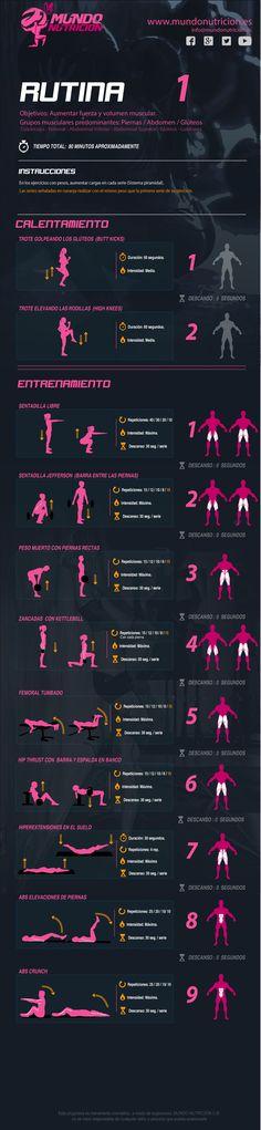 Rutina 1 piernas gluteos abdomen. MundoNutrición.es