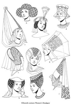 "century women's headdress, from ""Medieval fashions"" by Tom Tierney Medieval Hats, Medieval Fashion, Medieval Dress, Medieval Clothing, Historical Costume, Historical Clothing, 15th Century Fashion, 15th Century Dress, 15th Century Clothing"