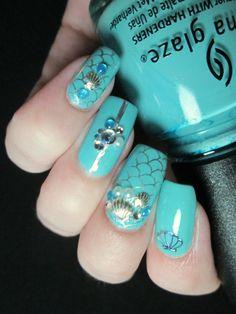 Nails inspired by sea. Mermaid nails. #turquoise #nailart #stamping