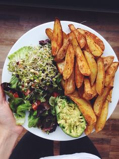 gymbunnyamber: Potato wedges mashed avocado and salad with...