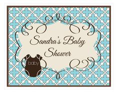 Blue Baby Shower Party Sign