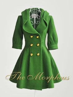 Green coat. Reminds me of something a character from Emerald City in The Wizard of Oz would wear.
