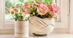Lässt frische Blumen schön natürlich wirken: eine Do-it-yourself-Kordelvase, die ruck, zuck fertig ist. Wir erklären, wie es geht
