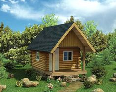 #LogCabin Plan 6024 | This compact, one bedroom cabin would be perfect for that yearly hunting or fishing trip! 12'-wide cabin design with loft can be built either 12', 16' or 20' deep. Three Different Sizes 12' x 12' 12' x 16' 12' x 20' Wall Styles 5x6 Timber Framed 2x8 Log Siding