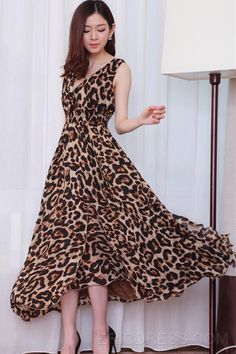 Sexy Bohemian Style Leopard Print Flowing  Maxi Dress Maximum Style