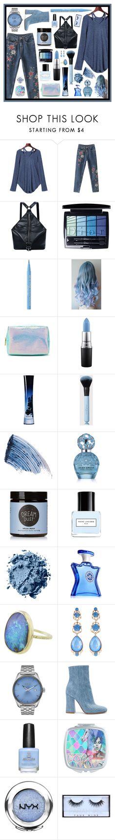 """Powder blue"" by beanpod ❤ liked on Polyvore featuring Christian Dior, Too Faced Cosmetics, Forever 21, MAC Cosmetics, Giorgio Armani, Sisley, Marc Jacobs, Moon Juice, Bond No. 9 and Natasha"