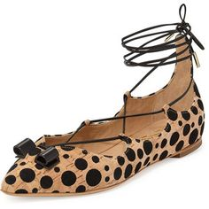 Edgardo Osorio For Ferragamo Claire Spotted Cork Lace-Up Flat