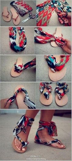 9. Make some clever, colorful sandals with leftover fabric.