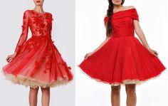rochii rosii din tulle si voal de matase
