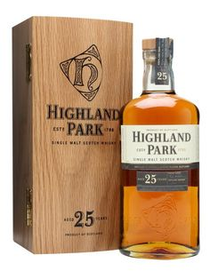Highland Park 25 Year Old : Buy Online - The Whisky Exchange - A late 2012 release of Highland Park's excellent 25 year old whisky. A mix of ex-sherry and bourbon cask matured whisky to balance honey with rich fruit, as well as a lick of the distilleries trade...