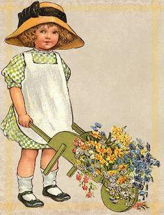 Sweet Girl & Spring Flowers ~ free printable tags