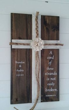 This beautiful piece is the perfect representation of your unity in marriage and is a keepsake you will admire for years to come. It is very sturdy and made to last. The large burlap flower adds a bit of elegance to the rustic charm of this piece. The quote is in vinyl. I also stain the backside and it comes with a hanger attached, but can omit if you prefer. The bride and groom will braid from the flower down. During ceremony the braided cords can be secured with included twine and place…