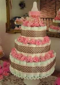 Pink and Brown Diaper Cake for a Girl
