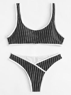 Contrast Piping Striped Bikini Set -SheIn(Sheinside)