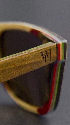 Woodzee Trinity - Skateboard Sunglasses - Rasta Sunglasses.   Our Trinity rasta skateboard sunglasses are crafted from repurposed Canadian maple wood skateboard decks and utilize seven ply construction. These sunglasses are the most durable frames Woodzee makes.
