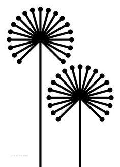 Black dandelion graphic illustration