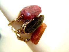 Tourmaline Ring Statement jewelry Apricot caramel by by Vitrine