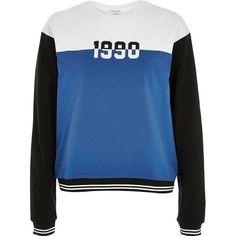 River Island White colour block '90s sweatshirt (140 RON) ❤ liked on Polyvore featuring tops, hoodies, sweatshirts, t shirts / tanks, white, women, print top, long sleeve sweatshirt, crew neck sweatshirts and crew-neck sweatshirts