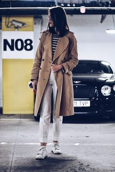 Get this look: http://lb.nu/look/8091528  More looks by Andreea Birsan: http://lb.nu/andreeabirsan  Items in this look:  Zara Trench Coat, Mango Sweater, Mango Trousers, Mango Sneakers   #casual #minimal #street #stripes #beige #camel #pattern #print #trench