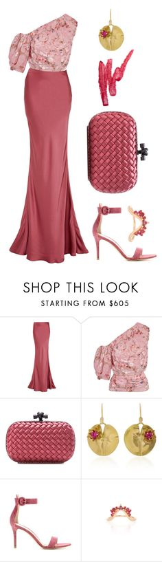 """Spring Wedding"" by dominosfalldown ❤ liked on Polyvore featuring Paule Ka, Preen, Ilia, Bottega Veneta, Annette Ferdinandsen, Gianvito Rossi, Fernando Jorge, Pink, wedding and offshoulder"