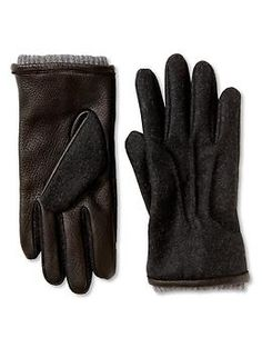 Leather-and-felt glove | Banana Republic | $65