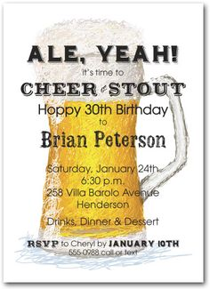 A+full+beer+glass+is+waiting+guests+on+these+Draft+Beer+Party+Invitations....