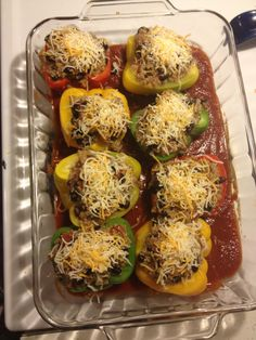 Mexican stuffed peppers. Good recipe Mexican Stuffed Peppers, Lenten, Homemade Food, Baked Potato, Good Food, Gluten Free, Vegetables, Eat, Ethnic Recipes