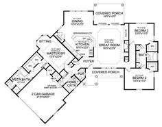 ePlans Country House Plan – Angled Ranch Boasts Dramatic Interior – 2065 Square Feet and 3 Bedrooms from ePlans – House Plan Code [Expand garage by one and add small bungalow off and behind it. Craftsman Style House Plans, Ranch House Plans, Dream House Plans, House Floor Plans, My Dream Home, Ranch Floor Plans, Craftsman Ranch, Craftsman Houses, Craftsman Bathroom