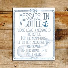 Nautical Baby Shower Message in a Bottle Sign Baby Shower   Etsy
