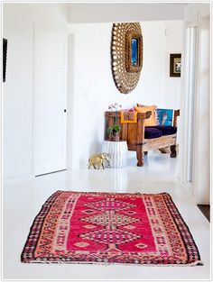 exotic entryway decor, patterns on white #camillestyles