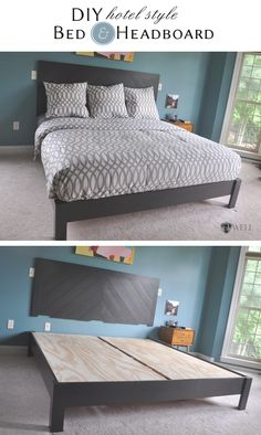 inkWELL Press: DIY: headboard and platform bed in hotel styleStep-by-step guide with pictures that give instructions on how to make a king-size platform bed with a hotel-style chevron headboard. Furniture Projects, Bedroom Furniture, Diy Furniture, Bedroom Decor, Bedroom Ideas, Furniture Online, Furniture Companies, Furniture Stores, Furniture Makeover