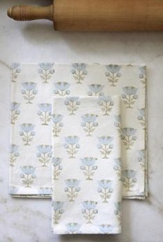 School House Blue Flower Napkins & Table Runner